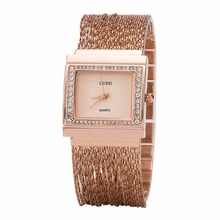 WA190 CUSSI Womens Watches Luxury Rhinestone Ladies Bracelet Fashion Quartz Wristwatches relogio feminino Chain Band