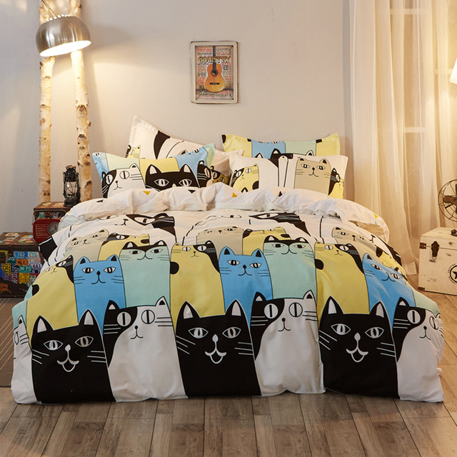 4Pcs Fashion Scandinavian Cartoon Cats Family Twin/Full/Queen/King ... : linen quilt king - Adamdwight.com