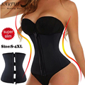 Hooks And Zipper Rubber Latex Waist Trainer Cincher Corset Bustiers Underbust Smooth Latex  Body Slimming Shaper corselet