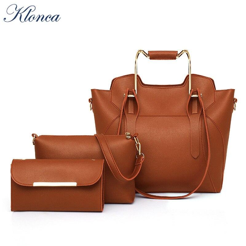 Klonca livraison gratuite chic femme sac à main nouveau designer 3 pièces/ensemble sac composite haute qualité PU cuir nouveauté sac à bandoulière chaud