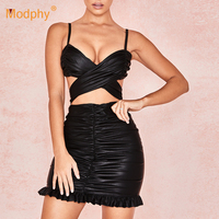 2019 Summer New Sexy Black Leather Mini Dress Hollow Ruffle Bodycon Spaghetti Dress Nightclub Party Club Vestidos