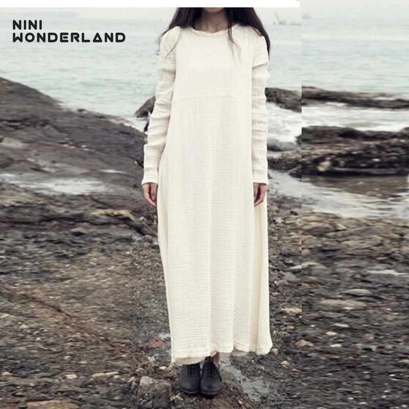 NINI WONDERLAND Spring Autumn Women Loose Cotton Linen Long Dress Long Sleeve Solid Colors Long Gown For Female Vintage Robes