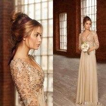 Fashion Lace Long Sleeve Prom Dresses 2015 Vestido De Fiesta Sexy V Neck Pearls Chiffon Floor-Length Evening Gowns