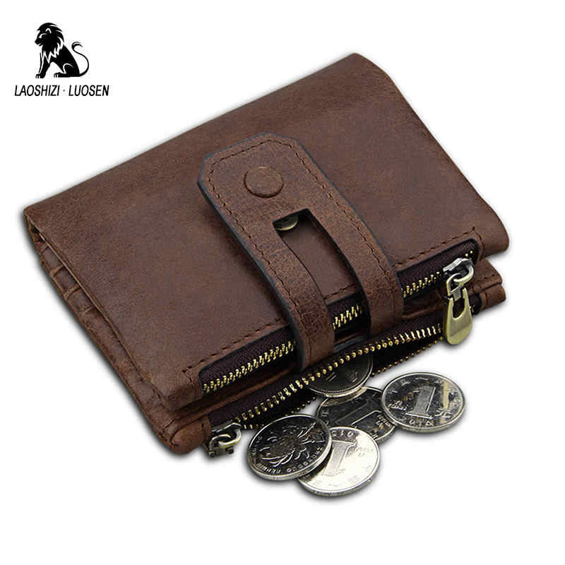 LAOSHIZI LUOSEN Wallet Male Genuine Leather Purse Women Natural Skin Short Wallet Female Small Wallet Men rfid Zipper billetera