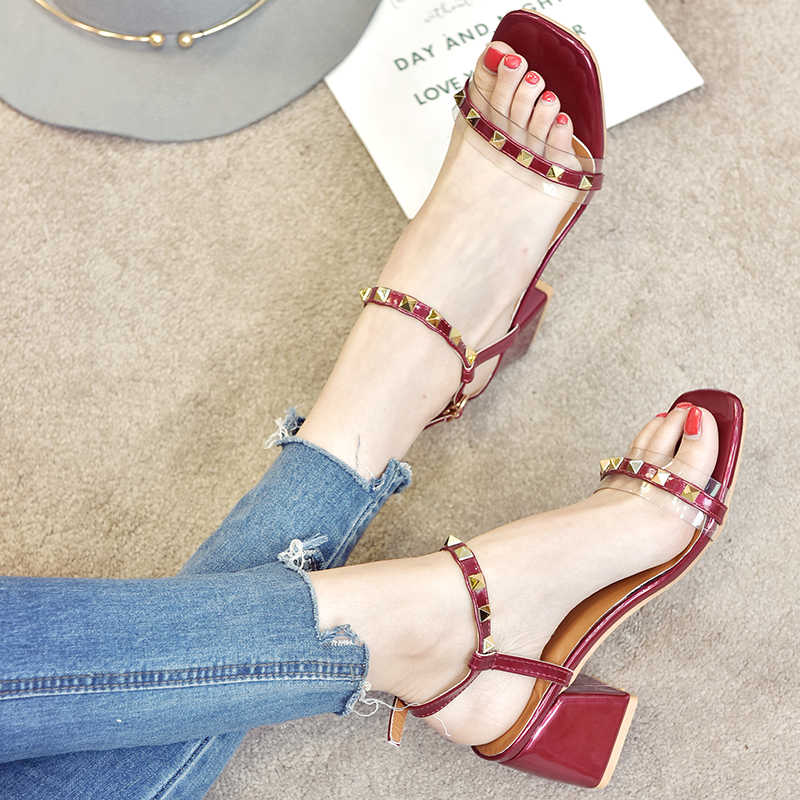 224a9a19ee812b Women High Heels Pumps Rivets Transparent Heeled Sandals Peepp Toe Buckle  Strap Block Heel Slingback Shallow