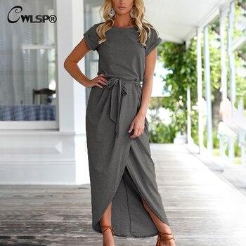 10d77b2d6 CWLSP tamaño grande flojo Irregular vestido Sashes Casual Oficina señora  vestido Maxi vestidos de fiesta largos elegantes de gala QL4068