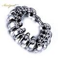Meaeguet Rock Men Skull Bracelet Jewelry Stainless Steel Bracelets&Bangles for Men Party Jewelry  Wholesale Bracelets
