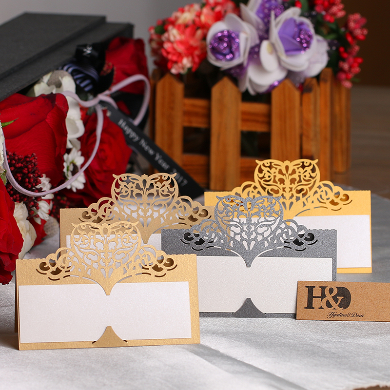 buy hu0026d 12pcsset laser cut crown shape table name card place card wedding party decoration favor beige gold from reliable shaped cards suppliers on