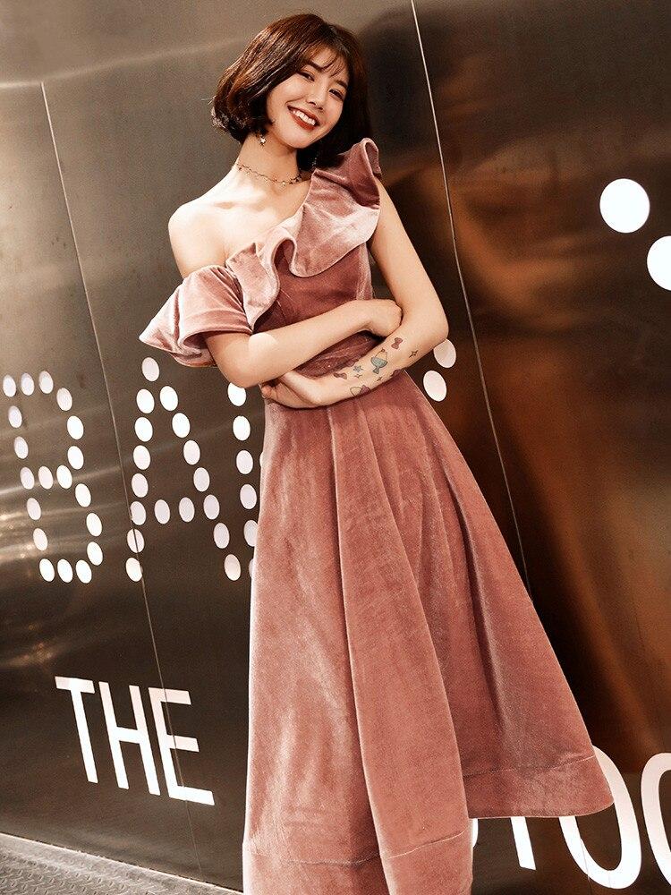 Weiyin 2019 nouveauté Sexy une épaule velours robes de soirée coupe courte formelle robes de soirée Robe Soiree WY1379 - 5