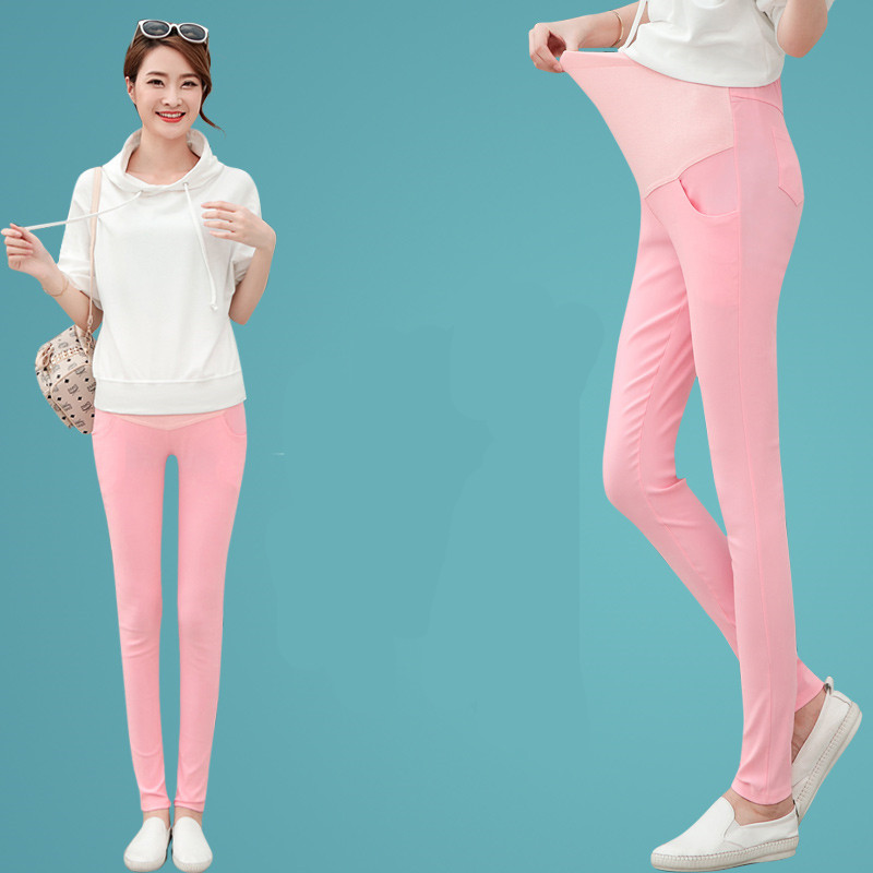 Candy Color Maternity Clothes Pants Care Belly Leggings for Pregnant Women Solid Pencil Trousers Pregnancy Clothing E0084