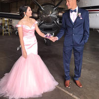Custom Made High Quality Pink Tulle Mermaid Dress Evening Off The Shoulder Sweetheart Long Elegant Formal Dresses 2019