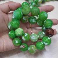 Lii Ji Unique Wholesale Dye Green Color Onyx Agates Faceted Beads approx 16mm DIY Jewelry Making 39cm
