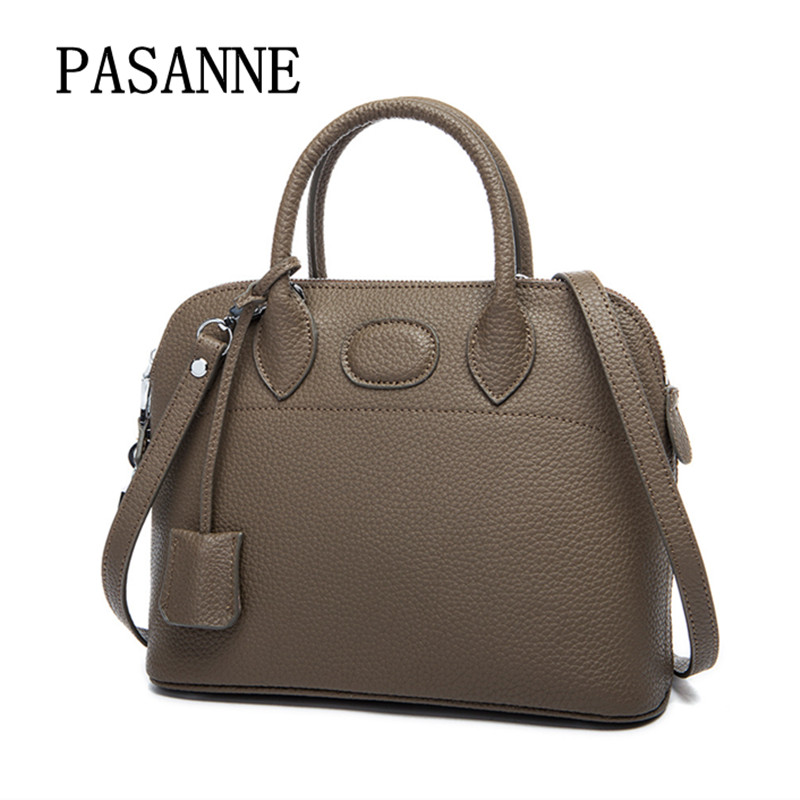 Fashion Women Bag Cow Leather Fashion Shell Handbag 2017 New PASANNE Genuine Leather Girl Woman Shoulder Bags Female Handbags 2017 new female genuine leather handbags first layer of cowhide fashion simple women shoulder messenger bags bucket bags