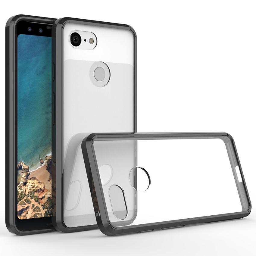 Hybrid Shockproof Cover Air Cushion Bag Case With Acrylic Crystal Clear Back Shell For Google Pixel 3 / Google Pixel 3 XL