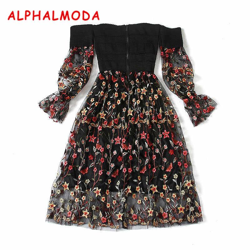 ALPHALMODA новые пикантные красивое платье без бретелек повязки кружево платье Для женщин Фонари с длинным рукавом Slim Fit вышитые вечерние платья