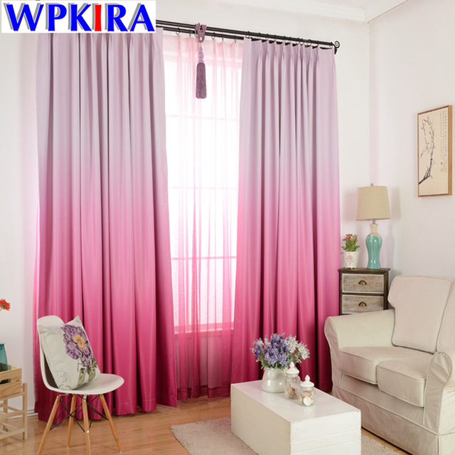 Violet Curtain Solid Gradient Blackout Curtains for Living Room ...