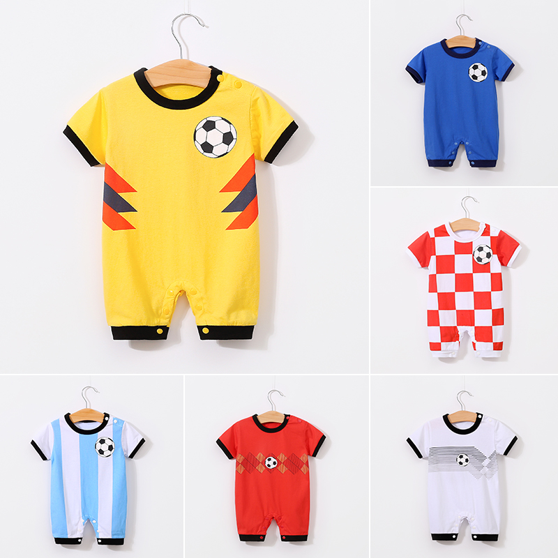 YiErYing Baby   Rompers   2018 Summer 100% Cotton Short sleeve Football Ha Clothes Newborn Baby Boy Girl Jumpsuits infant clothing