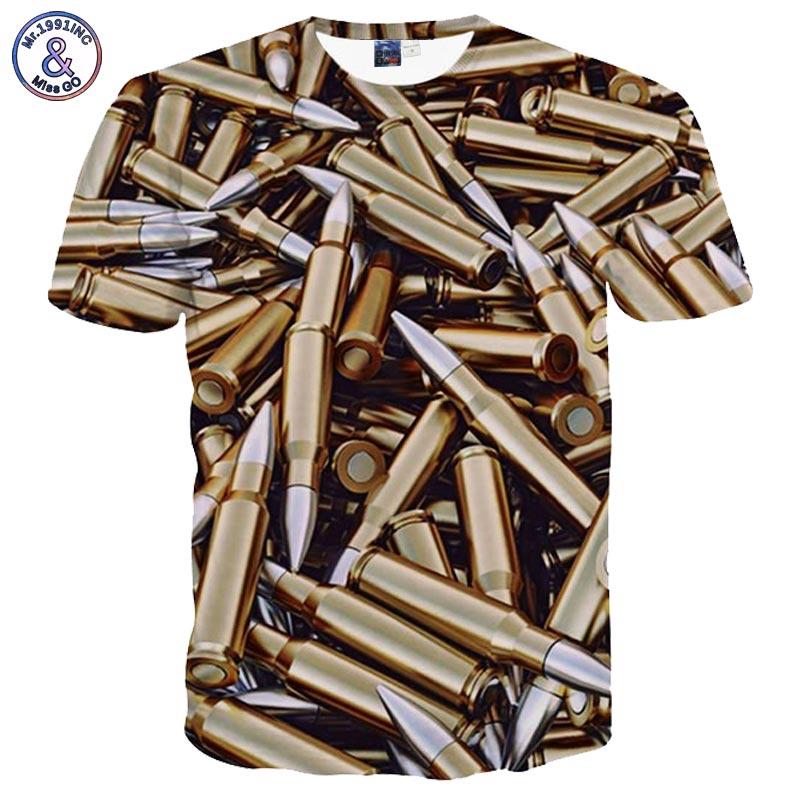 2017 Mr.1991INC Hip Hop T shirt Men Summer Tops 3d Tshirt Print Bullets Short Sleeve Tees Shirts Fashion T-shirt