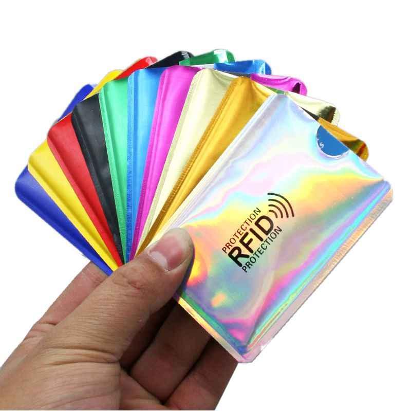 Prata laser de alumínio anti rfid carteira bloqueio leitor de bloqueio titular do cartão de banco id caso de cartão de banco de proteção de negócios metal crédito