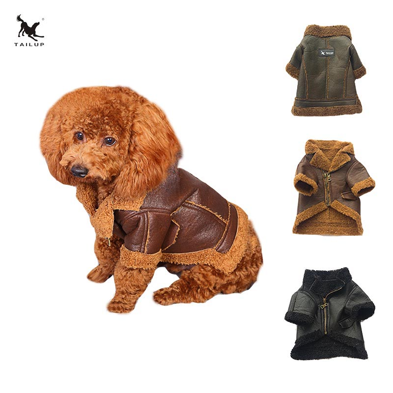 TAILUP Winter Warm Pet Clothing Cloth Soft PU Leather For Small Yorkie Dogs Puppy Windproof Chihuahua Fur Jackets