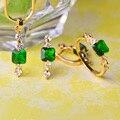 Mechosen cubic zirconia verde pedrinhas colares & brincos & anéis conjuntos de jóias de ouro de cobre praça pingentes aretes aneis schmuck