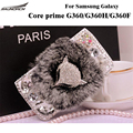 Rabbit Fur Cases Protective Leather Flip case Furry Crystal Cover Bag For Samsung Galaxy Core prime G360/G360H/G360F/G360G