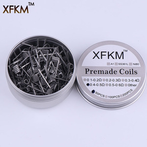 Image 2 - XFKM 50 pcs alien fused clapton tiger mix flat twisted  coils premade wrap wires  Quad hive Heating Resistance coil a1