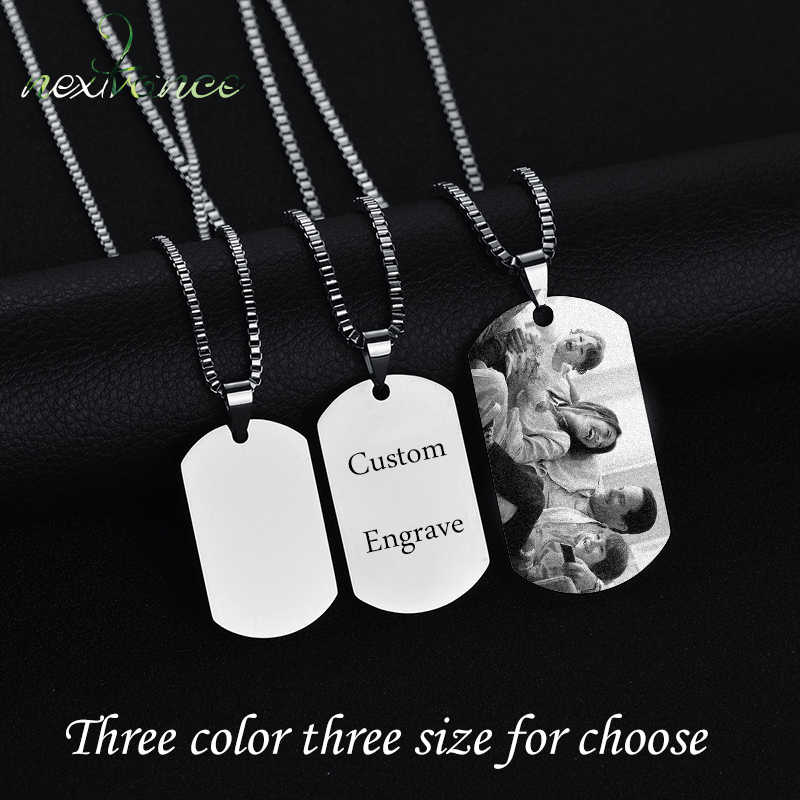 Nextvance Stainless Steel Custom Personalized Necklace 3 Colors Photo Name Free Engrave Necklaces For Women Men Valentines Gift