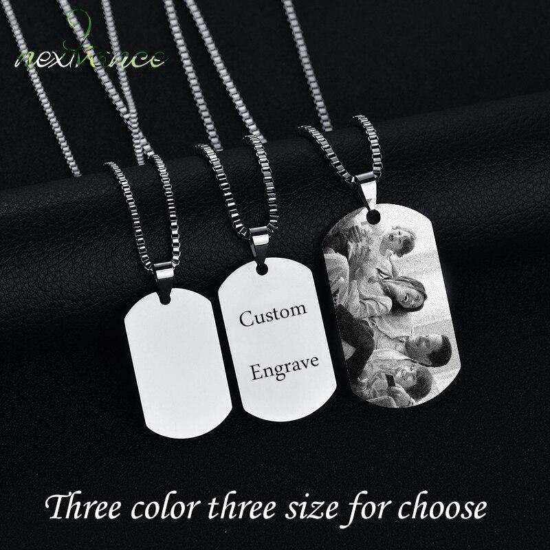 Nextvance acier inoxydable personnalisé personnalisé collier 3 couleurs Photo nom gratuit graver colliers pour femmes hommes saint valentin cadeau