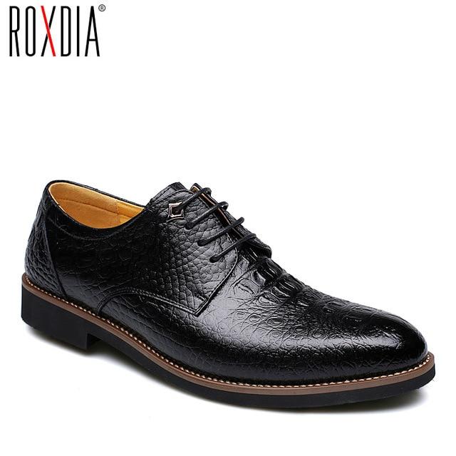 ROXDIA из коровьей кожи Мужские модельные туфли деловые работа мужской мужские повседневные оксфорды на плоской подошве RXM065 Размер 39- 44