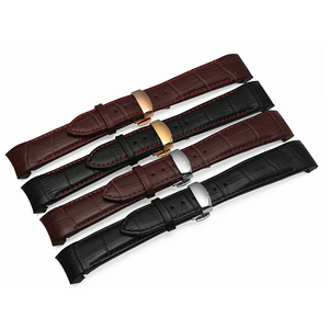 High Quality 21mm Black | Brown Genuine Leather Curved end Watchband with Butterfly Buckle For BL9002 BL9007 9000