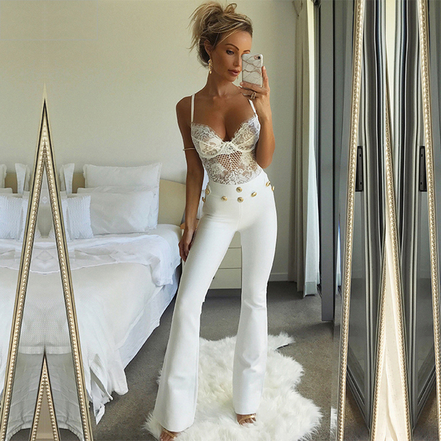New Summer Flare Pants Women Sexy Skinny Pant High Waist White Red Trousers Celebrity Party Bodycon Bandage Pants