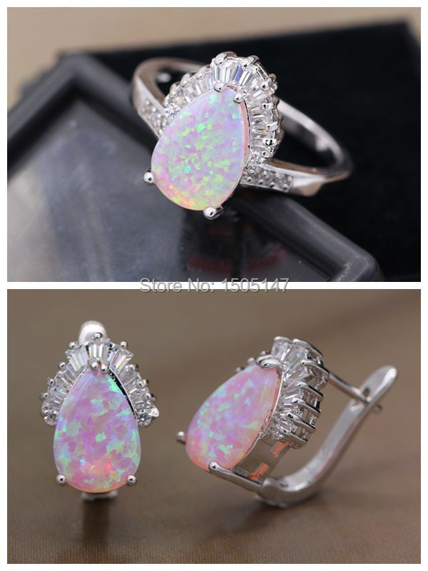 GZJY Beautiful Shining Noble Jewelry Pink Fire Opal Zircon White Gold Color Earrings Ring Set For Women Wedding Jewelry