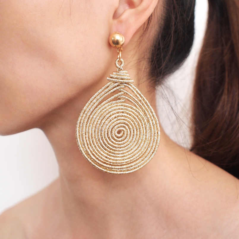Bohemian Alloy Spiral Statement Earrings Women Vintage Round Metal Dangle Earrings Fashion Jewelry Wholesale UKEN