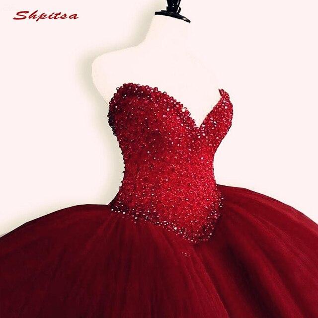 Luksusowe kryształy Quinceanera suknie suknia Sweetheart Tulle Red Prom debiutant szesnaście 15 słodka 16 sukienka vestidos de 15 anos