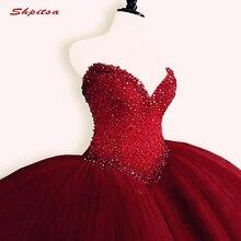Robe de bal rouge à cristaux de luxe, en Tulle, en Tulle, avec cœur, pour le bal, robe de 16 ans, pour débutant, 16 ans