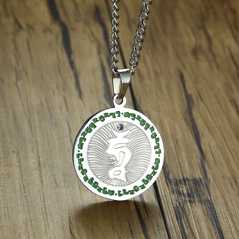 OM Symbol OHM Aum Hindu Buddhist Sanskrit Pendant Necklace for Men Stainless Steel Yoga Spiritual Male Jewelry