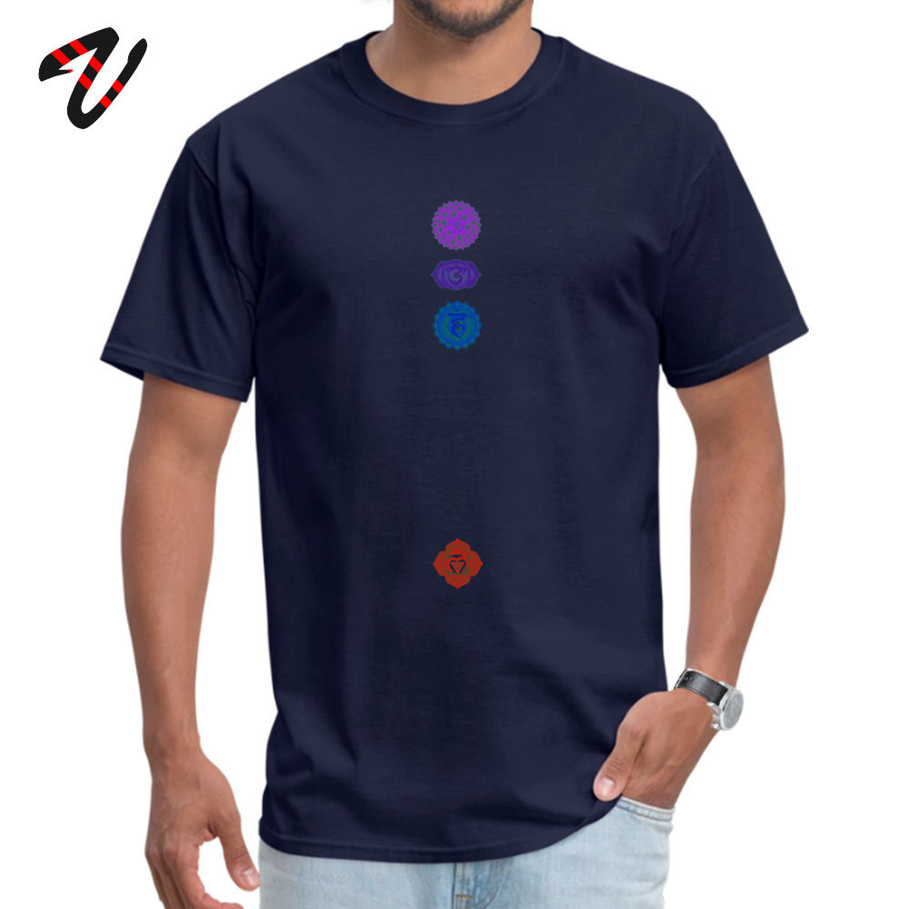 100% Cotton Fabric Men Short Sleeve Chakra spiritual meditation T Shirts Print T Shirt High Quality Summer Crewneck T Shirts 7 Chakra spiritual meditation 4718 navy