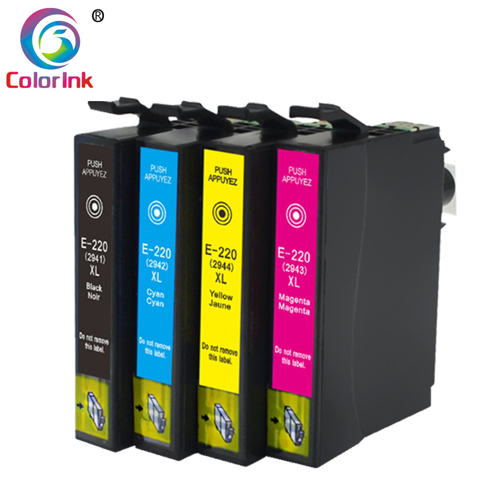ColoInk 4Pack ink replacement for Epson T220XL 2941 2942 2943 2944 ink cartridge WF-2630/WF-2650/WF-2660 XP-220 XP424 XP324
