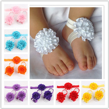 10sets lot Big Drop Sales children Infant Baby Toddler girls flower Headband footband 3pcs set Headwear