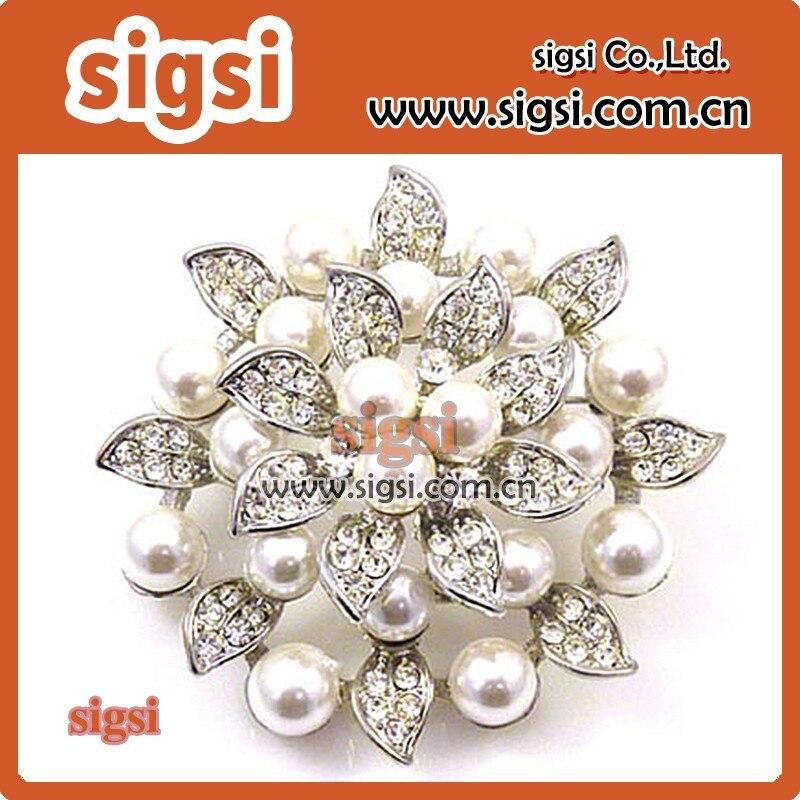 Plata doble propósito perla broche Bling cristal pashmina bufanda ...