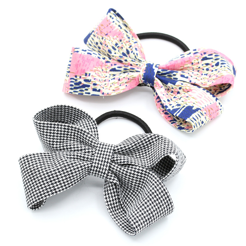 Elegant Grid Cloth Bow Knot Black Rubber Bands Girls Fashion Plaid Elastic Hair Bands for Women Headwear Hair Accessories Gum one punch man saitama figma 310 pvc action figure collectible model toy