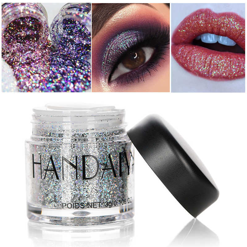HANDAIYAN Holographic Sequin Diamond Colorful Glitter Gel Shiny Body Mermaid Festival Powder Pigment Makeup Cosmetics TSLM1