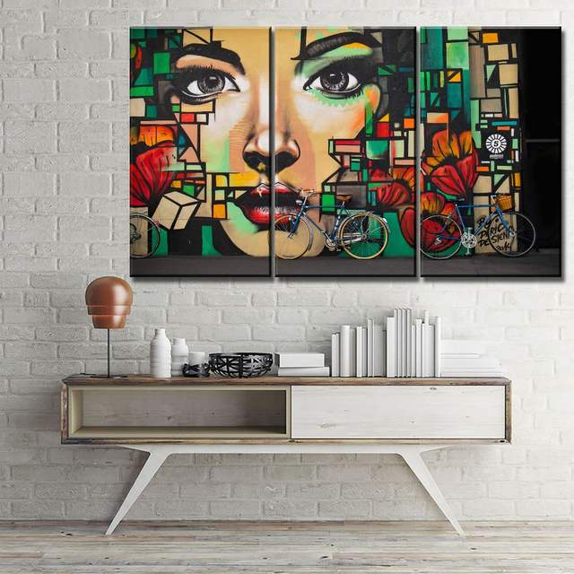 Bicycle Painting Canvas Hd Print Type Style Wall Art Poster Living Room Decor 3 Pieces Artistic Graffiti Colorful Face Girl Wall
