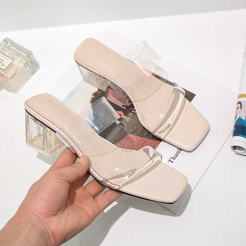 YANSHENGXIN Transparent Jelly Women's Slippers Summer Open Toes Shoes Fashion Woman Slides Square Heels Sandals Mule Footwear