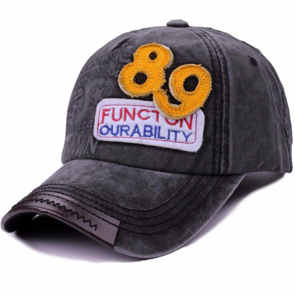 Casual Unisex Washed Baseball Cap Men Letter Patchwork Cotton Snapback Hat Caps Black Adjustable Summer Women Vintage Hat