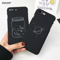 USLION Cute Cartoon Wishing Bottle Planet Moon Phone Case For iPhone 7 6 6s Plus Fashion Starry Sky Hard PC Cases Back Cover