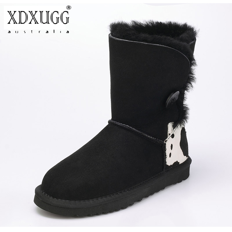 UBZ Women Snow Boots Australia Sheepskin Wool Snow Boots Female Winter Flat Shoes Bottomed Buckle Warm Boots Botas Mujer цена