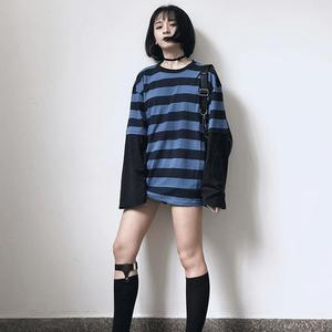 Harajuku Long Sleeve T-Shirt Women Fake Two Pieces Tees O-Neck Black Blue Striped Patchwork Loose T Shirt Fashion Female Top