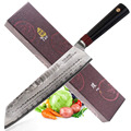 TUO Besteck Kirisuke Messer-Japnaese Damaskus AUS-10 HC Edelstahl Küche Nakiri Messer-Ergonomische G10 Griff-8,5''
